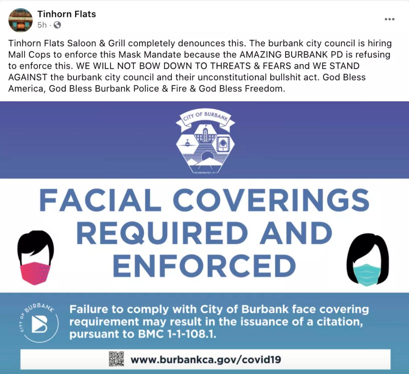 一名運動酒吧老闆在其社交平台上抨擊政府的口罩令。臉書截圖