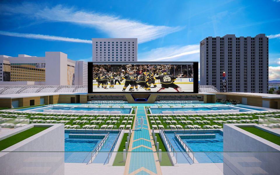 體育場式泳池區最多可容納四千人。Circa Las Vegas