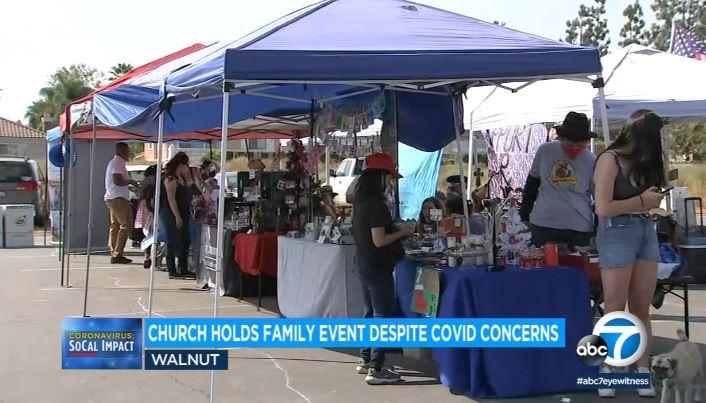核桃市教會週六舉行戶外家庭博覽會,吸引五至六百人參加。abc 7