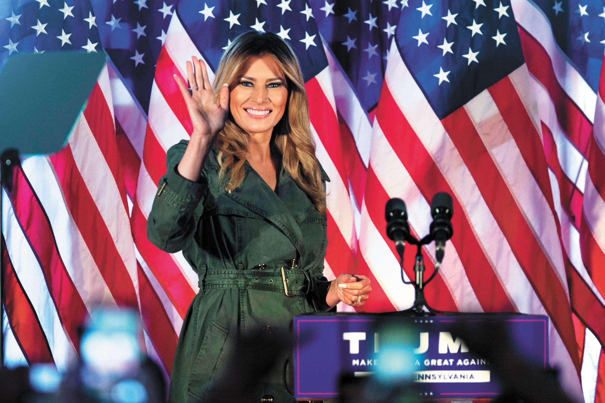 ■梅蘭尼婭27日到賓州為丈夫特朗普助選拉票,發表言辭激烈的演說。美聯社