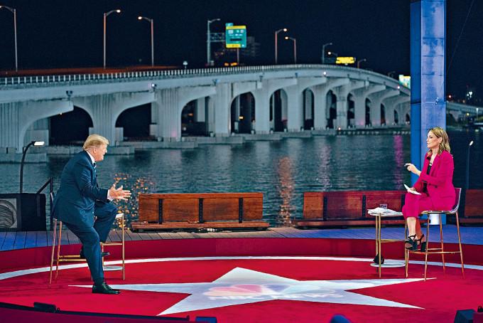 特朗普周四在邁阿密出席市民大會,由NBC女記者格思里主持。