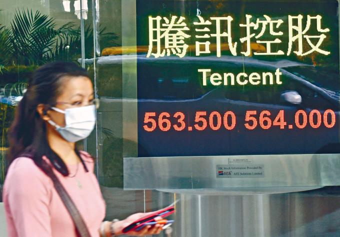 騰訊股價昨日下跌0.53%,收報563.5元。