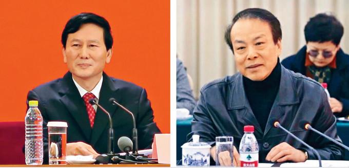 新任《人民日報》社長庹震(左)及新任新華社社長何平(右)。