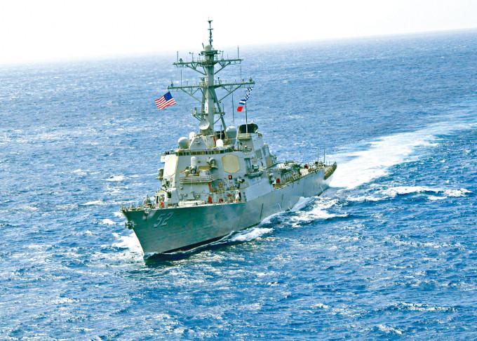 圖為美國導彈驅逐艦貝瑞號。
