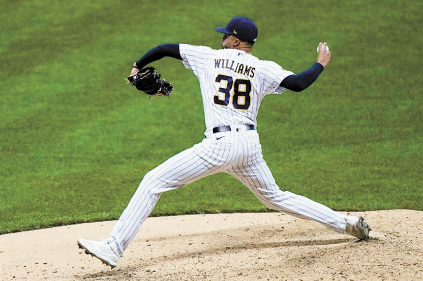 釀酒人中繼投手戴文.威廉姆斯的變速球神乎其技。美聯社