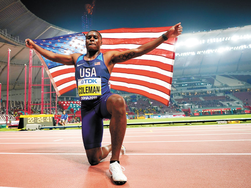 科爾曼是2019年多哈田徑世錦賽男子100米的冠軍得主。美聯社