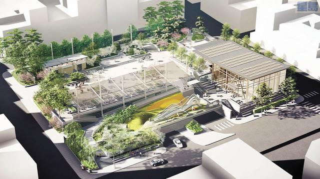華埠花園角公園效果圖,靠右的康樂中心將佔地7000平方呎。市府提供