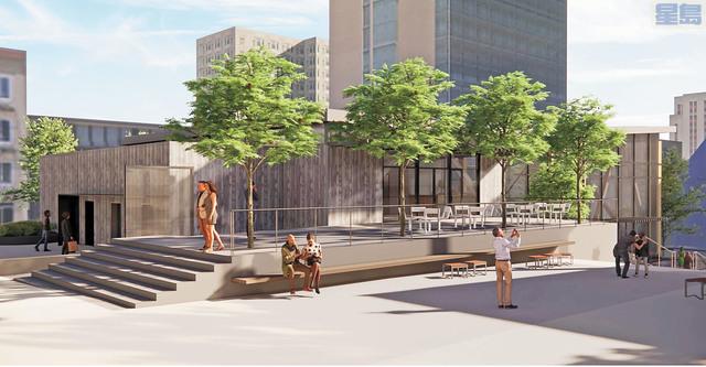 華埠花園角公園新設計簡潔、現代,室內、室外空間兼備。市府提供