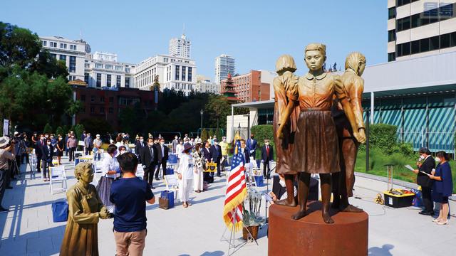「慰安婦紀念碑」落成三周年紀念會在聖瑪麗廣場舉辦。 記者黃偉江攝