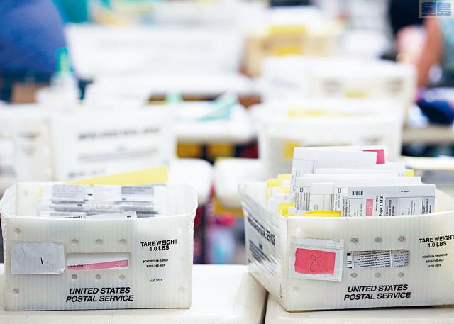 在疫情下,民眾踴躍郵寄投票。路透社