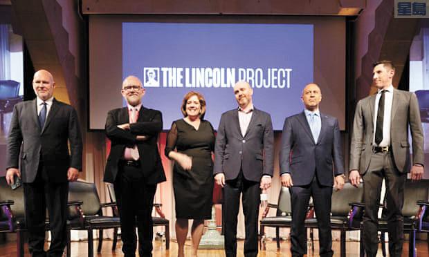 林肯計劃成員都曾是共和黨內要角。左起:施密特(Steve Schmidt),里克.威爾遜(Rick Wilson),珍妮佛霍恩(Jennifer Horn),里德加倫(Reed Galen),邁克馬德里(Mike Madrid)和羅恩史特斯洛(Ron Steslow)。