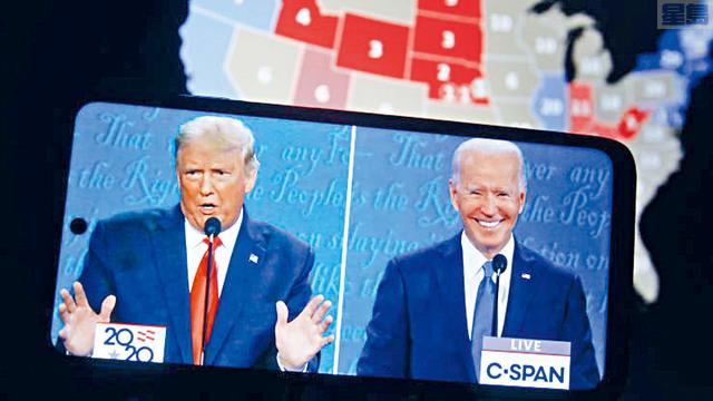 ■大選進入衝刺階段,總統特朗普馬不停啼地飛往各州出席集會,至於拜登則以靜制動,瞄準紅色州份,投放大量競選廣告。    法新社