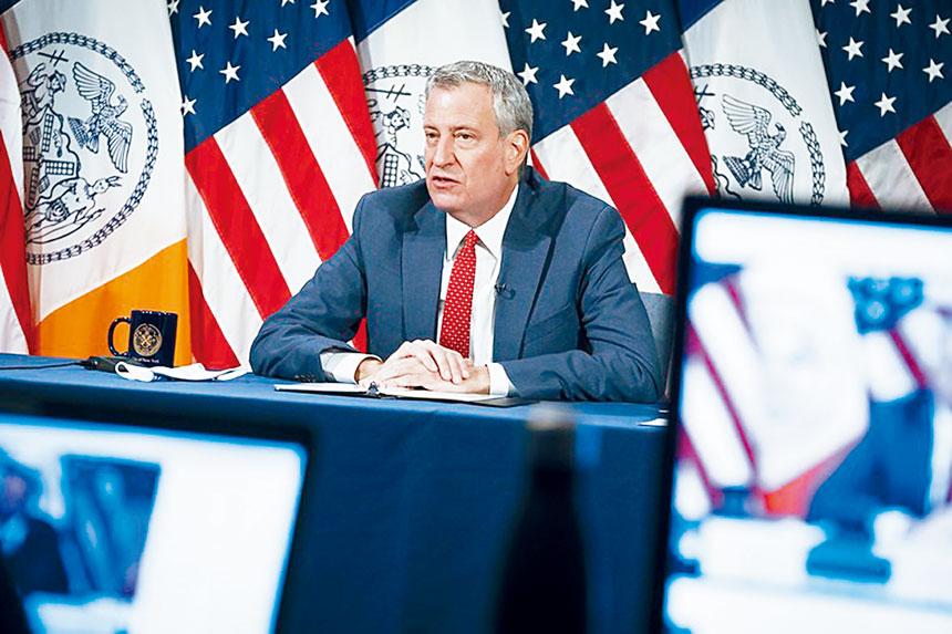 白思豪記者會上表示,紐約市可能不久就會成為橙色區。