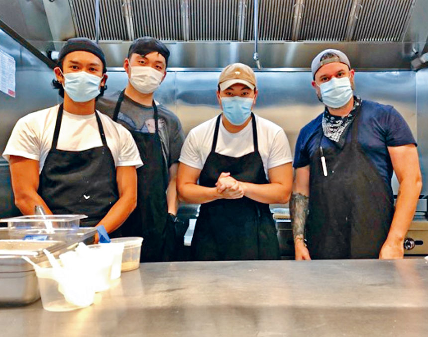好日子外賣店食品設計LJ Almendras、廚師胡北辰、主廚冼諾揚、餐飲總監Anthony Nichols。Mischelle Moy攝