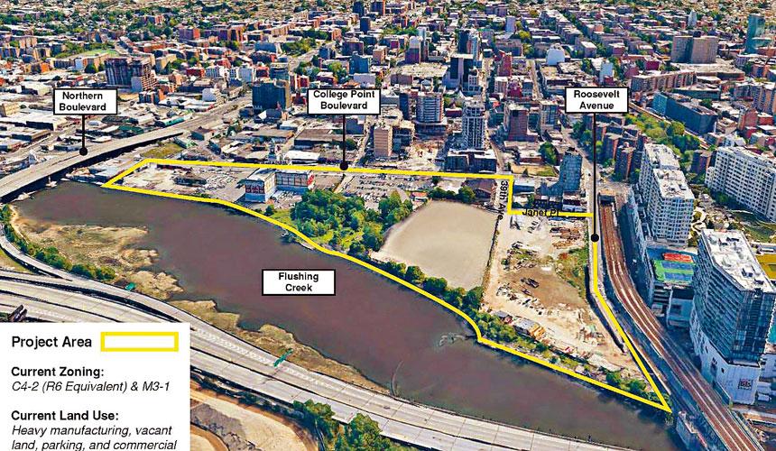開發商計劃在法拉盛溪邊開發河濱特別土地。資料圖片
