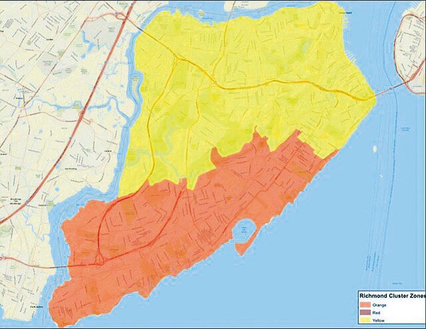州府公布地圖顯示,史島逾半地區已轉成橙區。