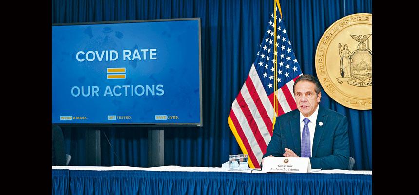 柯謨宣布多項限制措施,以應對紐約新冠疫情急升。州長辦公室Flickr圖片