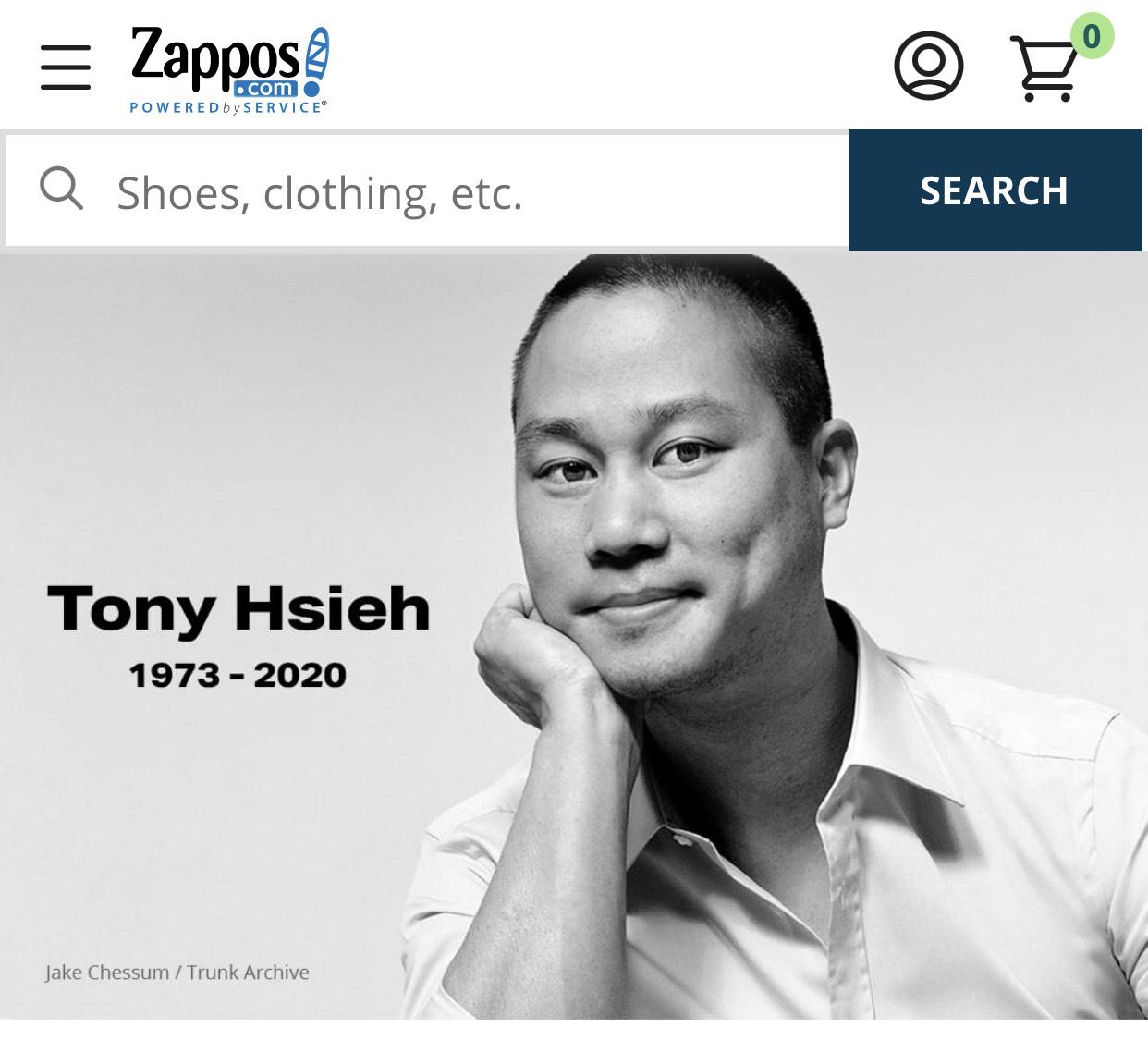 英年早逝Zappos創辦人謝家華。Zappos網站