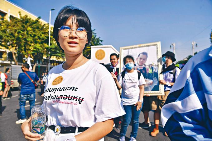 高中生示威領袖本傑瑪彭,上周六在曼谷參加示威。
