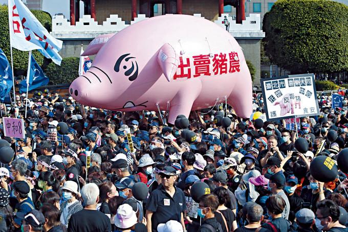 台北大遊行,反對進口美國瘦肉精豬肉。