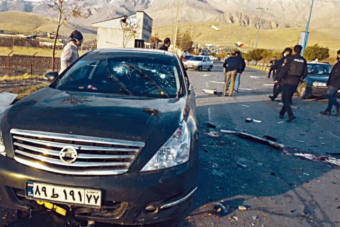 法赫里扎德上周五在德黑蘭東北部遭槍手伏擊的現場。