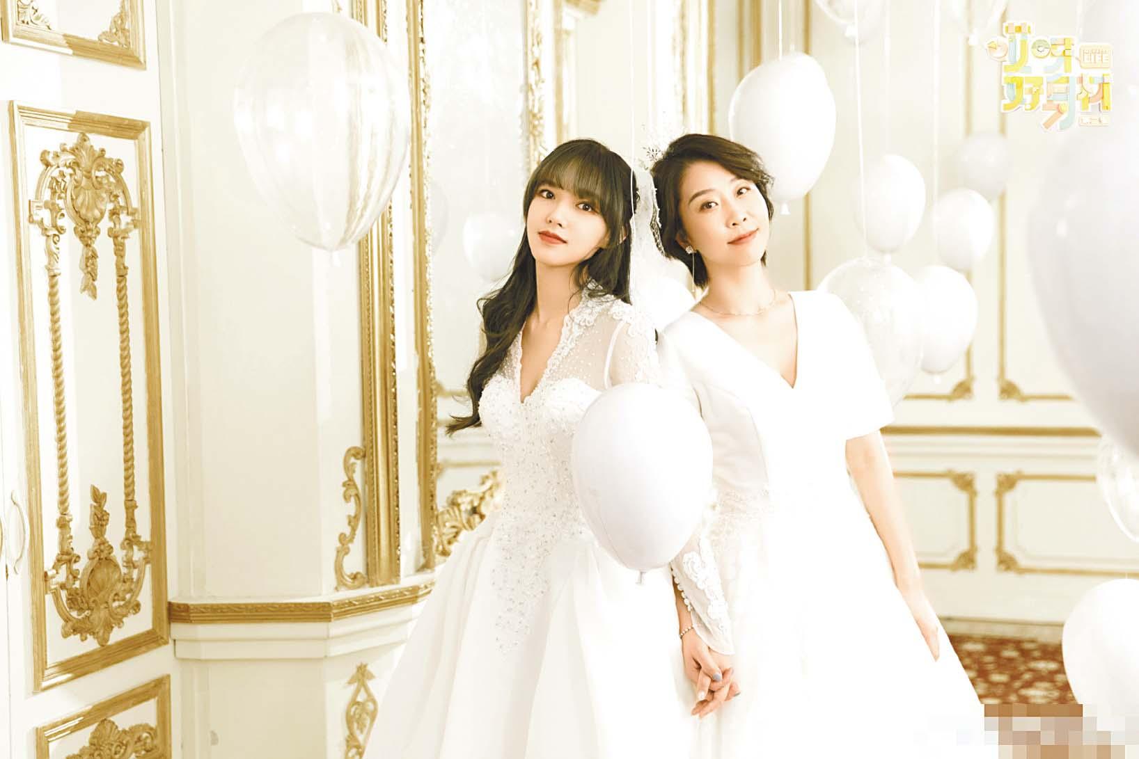 ■程瀟(左)與好友沈妍(右)拍 婚紗合照。 網上圖片