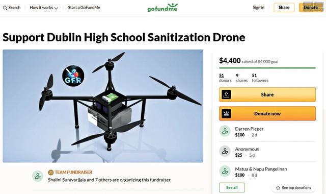 都柏林高中學生打造消毒無人機。GoFundMe