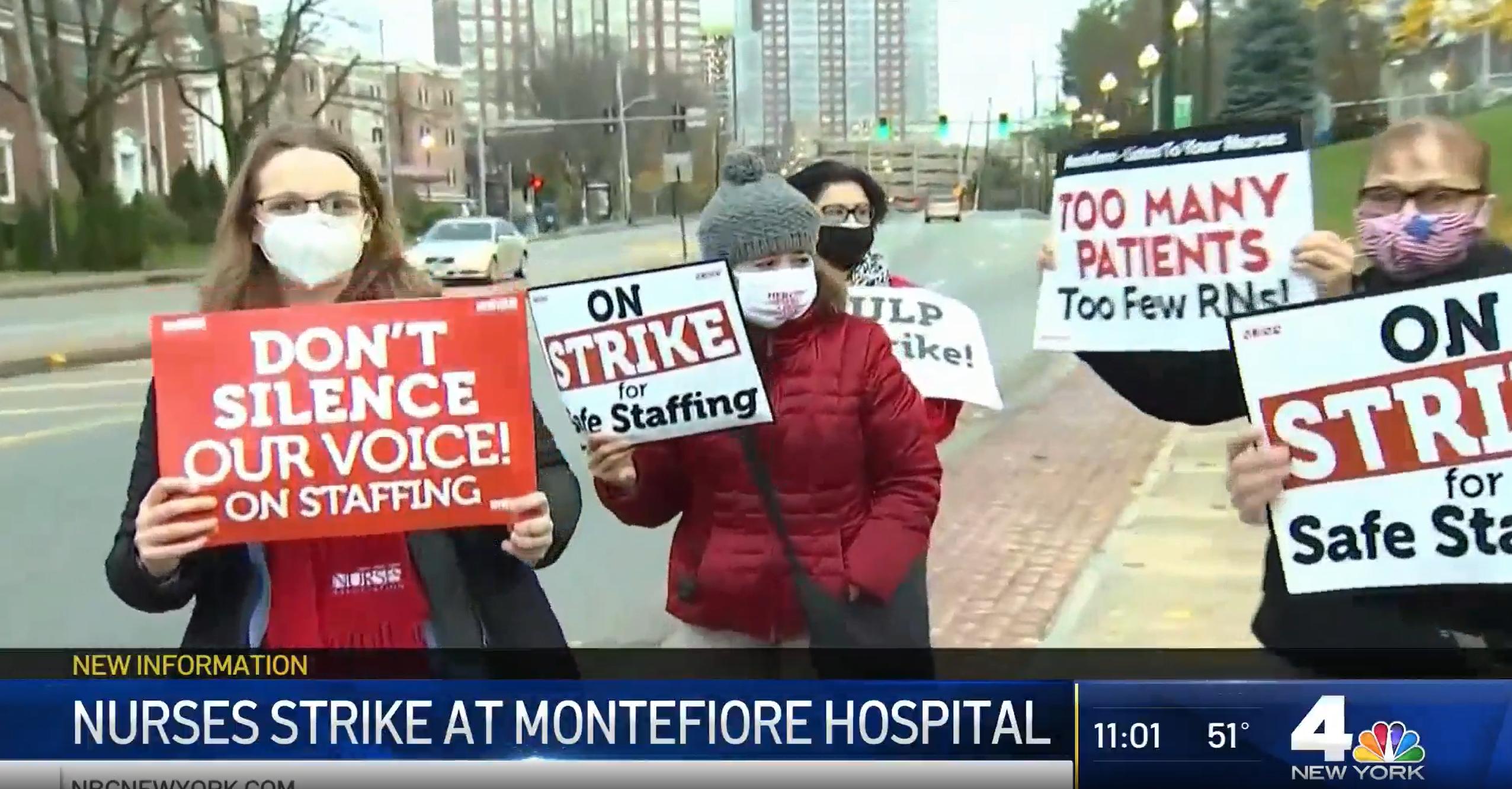 新羅謝爾有大約200名醫護人員罷工2 天。 NBC新聞截圖