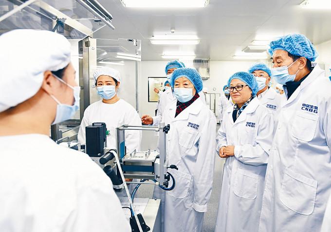 副總理孫春蘭(右三)在北京視察新冠疫苗生產準備工作。