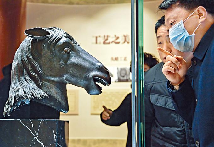 圓明園昨天展出馬首銅像。