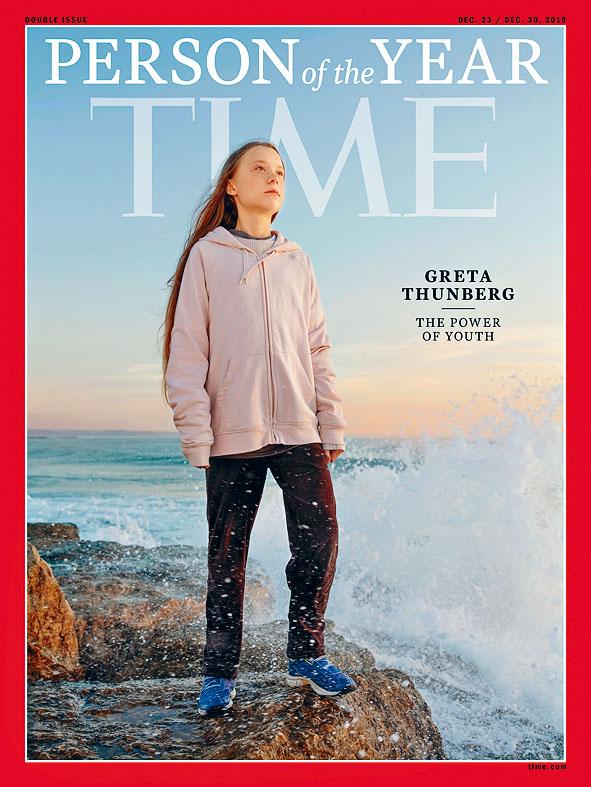 瑞典十六歲環保少女通貝里是二○一九年年度「風雲人物」。