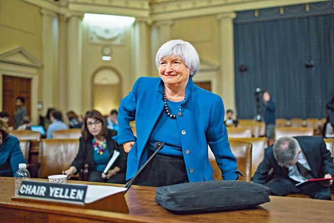 二〇一七年時任聯儲局主席的耶倫,出席國會聯合經濟委員會聽證會。
