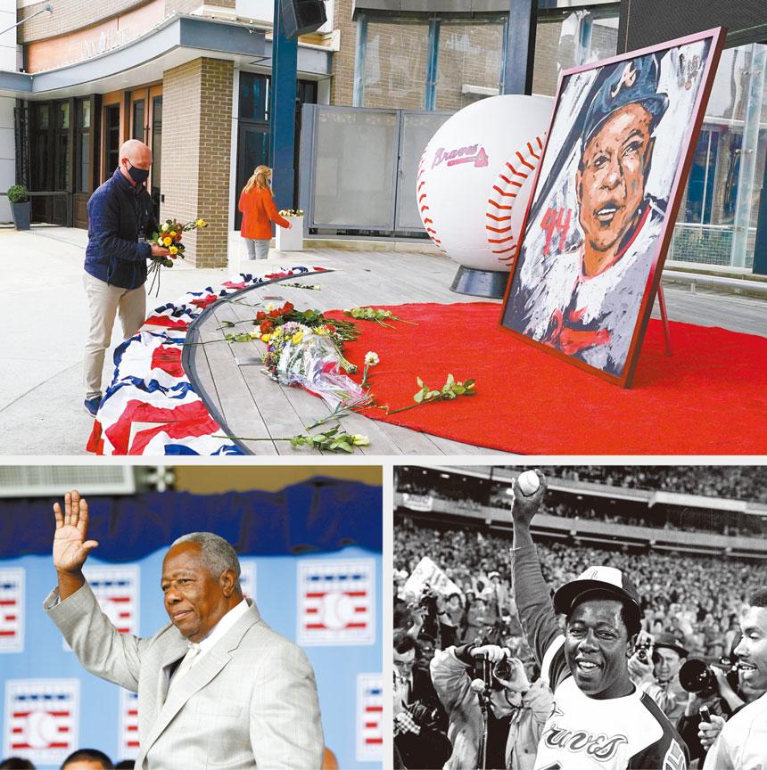 亞特蘭大勇士在主場外悼念去世的傳奇球星漢克阿倫。美聯社