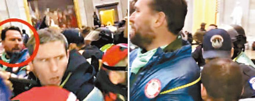 凱勒涉嫌參與衝擊國會大廈,他的游泳國家隊隊服很顯眼。網上圖片