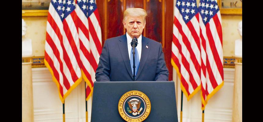 總統特朗普在告別講話中,祝願下任政府取得成功,確保美國安全及繁榮。他並感謝美國人民給予他機會擔任總統,稱這是至高無上的榮譽。白宮視頻截圖