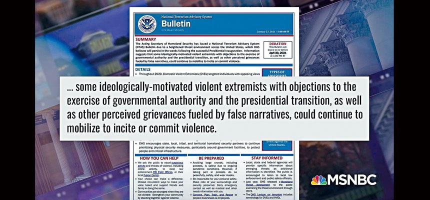 國安部罕見發出恐怖主義通報,警告受反政府情緒影響,最近幾周極端分子可能再度煽動或實施暴力。屏幕截圖