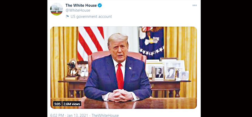 總統特朗普13日發布一個新視頻,明確地譴責國會大廈發生的暴力事件,並呼籲政權和平過渡,不要發生任何意外事件。     視頻截圖