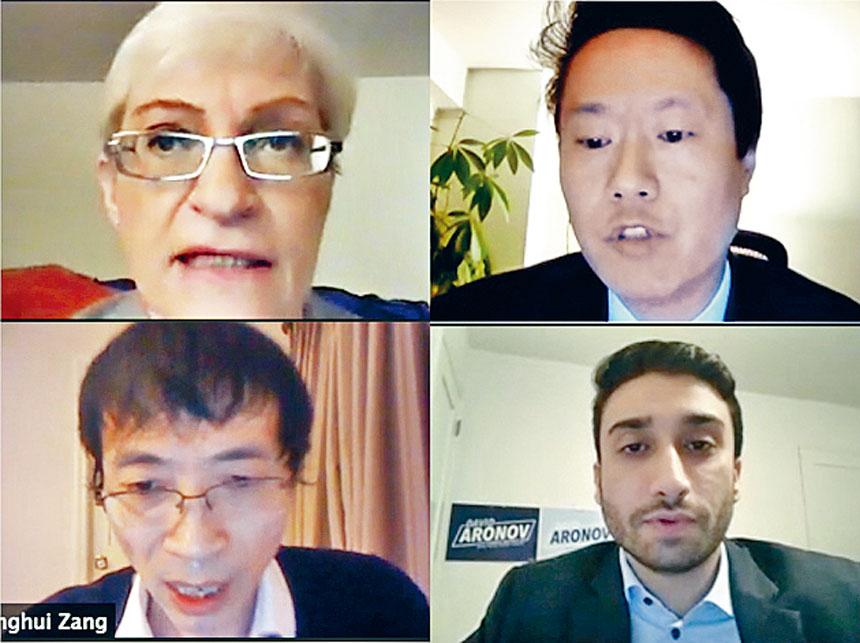 舒曼琳(左上)、黃啟俊(右上)、臧東慧(左下)和阿羅諾夫分別發表政見。