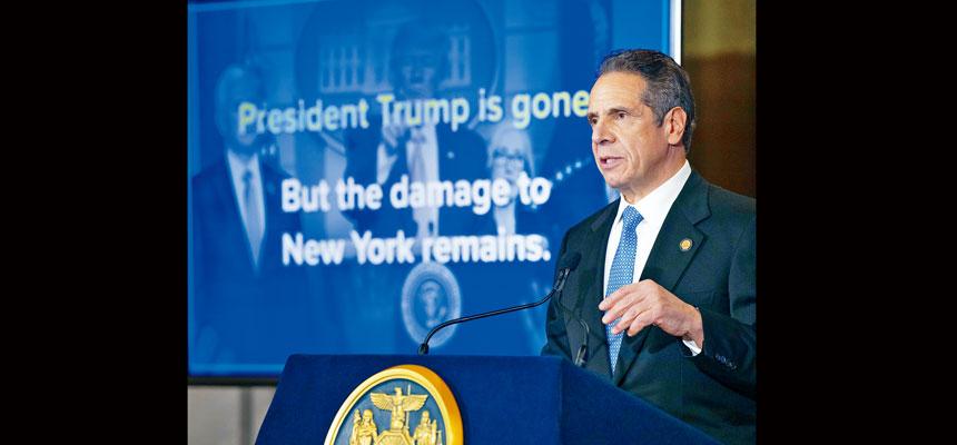 柯謨指稱,特朗普對紐約的破壞十分深遠。州長辦公室Flickr圖片