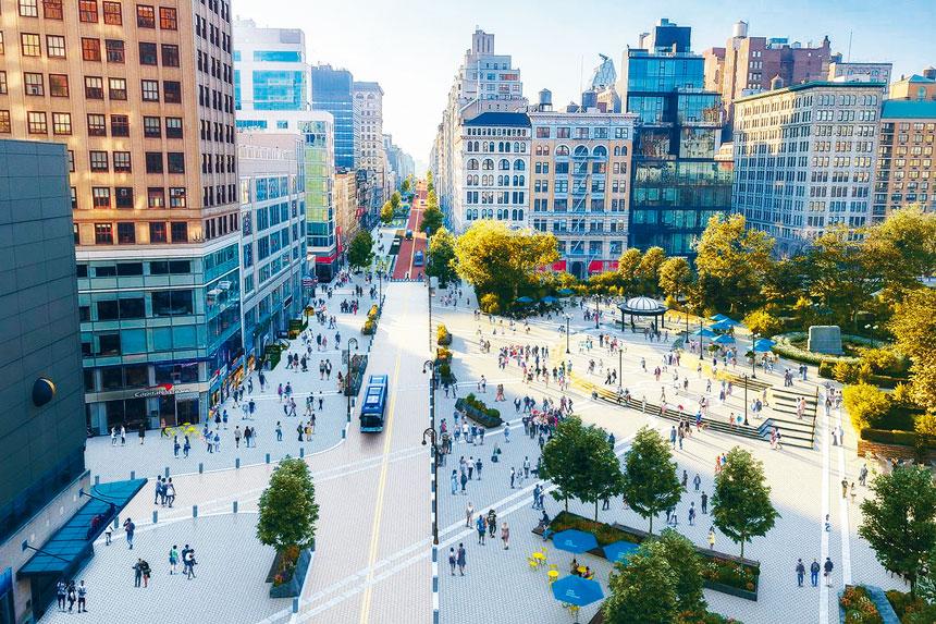 在計劃之下,聯合廣場公園面積將擴大至8.85畝。聯合廣場合作夥伴圖片