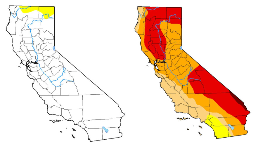 左圖顯示去年1月加州很少乾旱,右圖則顯示今年大部分地區陷入乾旱。U.S. Drought Monitor