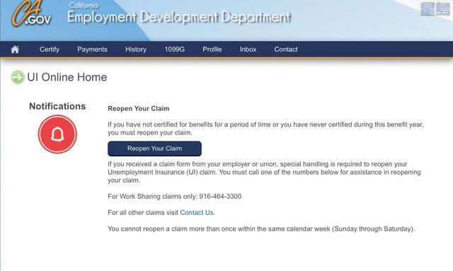 EDD頁面帳戶顯示此前已經申請第一輪的用戶需要重新啟動申請程序。網站截圖