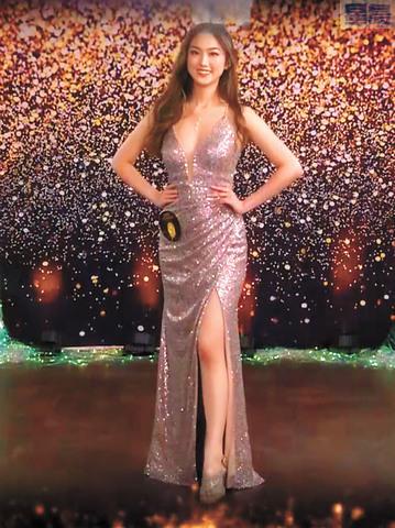 得獎三甲在晚禮服環節表現優雅動人,亞軍黃哲裕。記者徐明月截圖