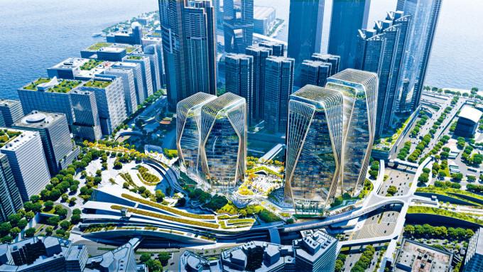 項目申請由三幢改建作兩幢「鑽石形」商廈。