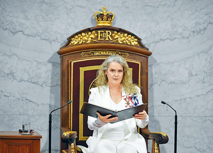 去年九月,女總督帕耶特作為英女皇的代表,在加拿大國會致辭。