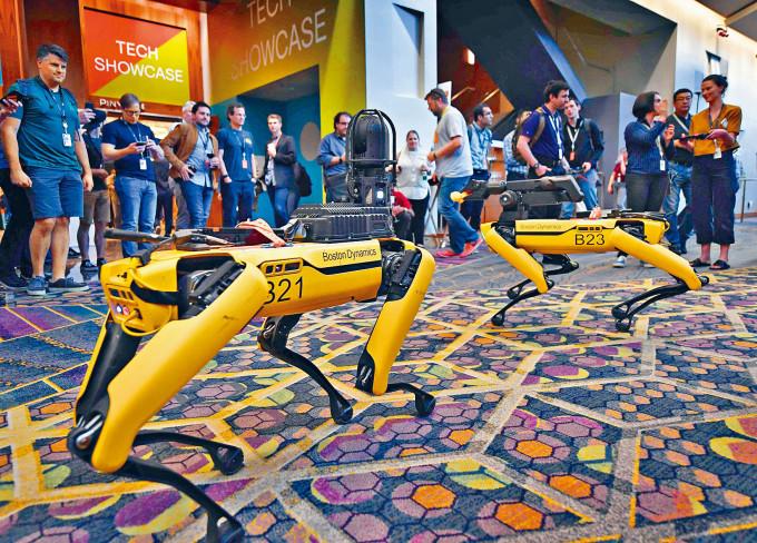 拉斯維加斯的機械人及人工智能會議,展示機械狗。