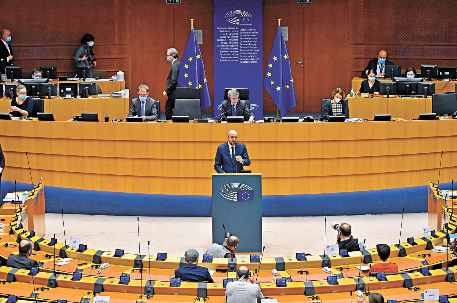 歐洲議會21日通過涉港議案,中方表示強烈譴責。圖為歐洲理事會主席在歐洲議會上致辭。法新社