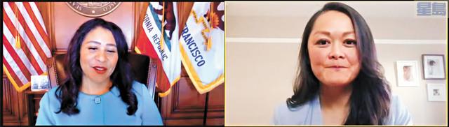 市長布里德(左)在線上記者會宣布任命,右為朱嘉文。 記者徐明月截圖