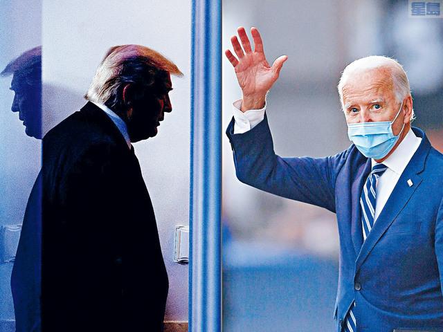 候任總統拜登(右)20日將宣誓就任,另外,消息透露,總統特朗普(左)會在當日早上離開華盛頓,他的送別儀式將在安德魯斯空軍基地舉行。    法新社