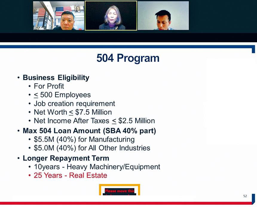 聯邦小企業管理局經濟發展專員郭曼麗在線上詳細說明各項聯邦低息貸款。